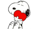 Snoopy hugging a heart