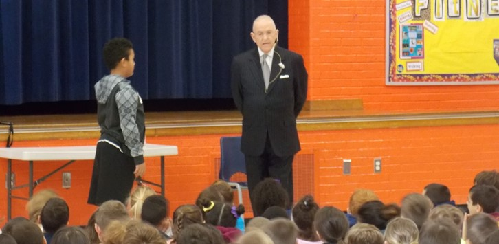 Etiquette Assembly Dick Blake and student