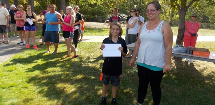 Walk-a-Thon Grand Prize winner with iPad