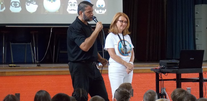 Principal and speaker at fundraising assembly
