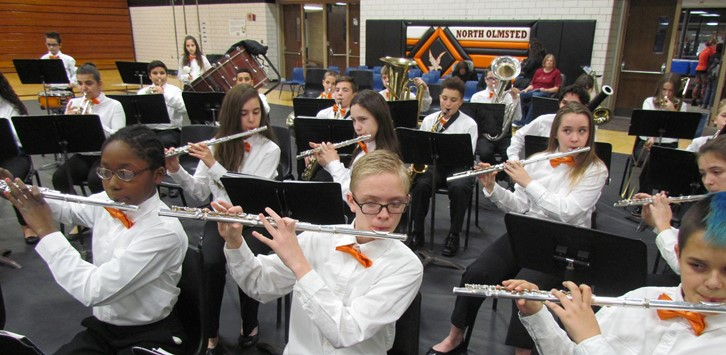 The seventh grade band performs