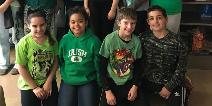 Students wearing green for Kindness