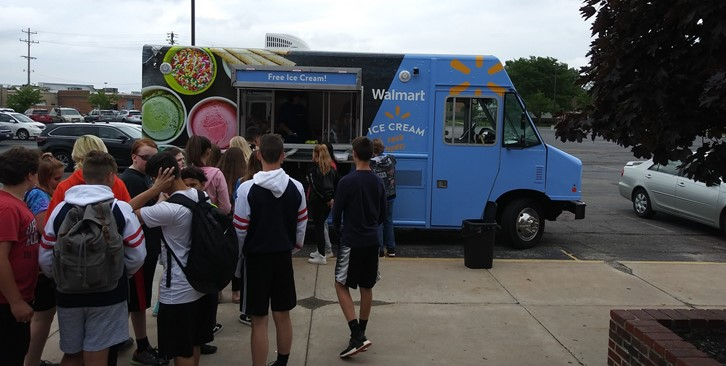 Students wait in line for the Walmart ice cream truck