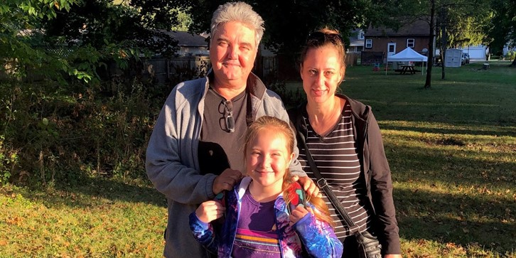 Dads walk to school day - family with daughter